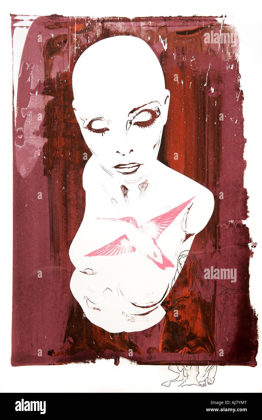 Fotografía de la pantalla imprimir las ilustraciones basadas en una tienda escaparate maniqui. Artista: Andrea Imagen De Stock