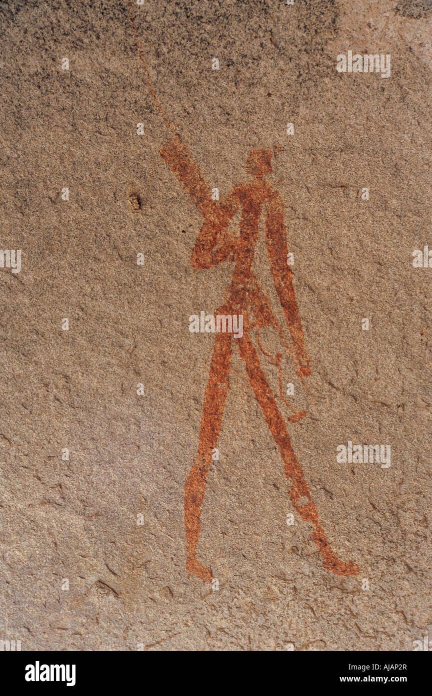 San o Bosquimano pintura interior Nswatugi Cueva en el Parque Nacional de Matobo Zimbabwe Imagen De Stock