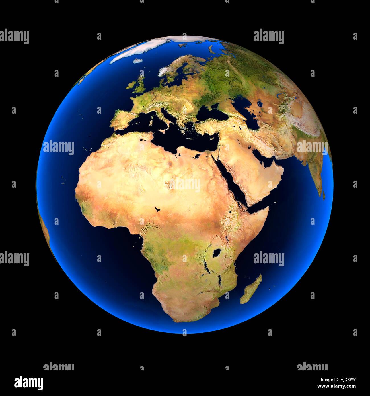 Colorido Globo Terrestre Contra Un Fondo Negro Europa áfrica Y