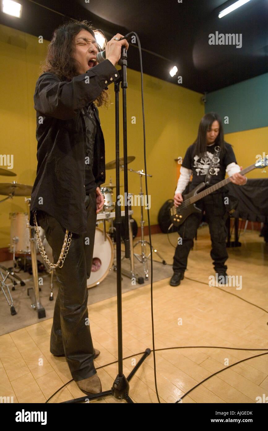Rock Band en el ensayo Foto de stock