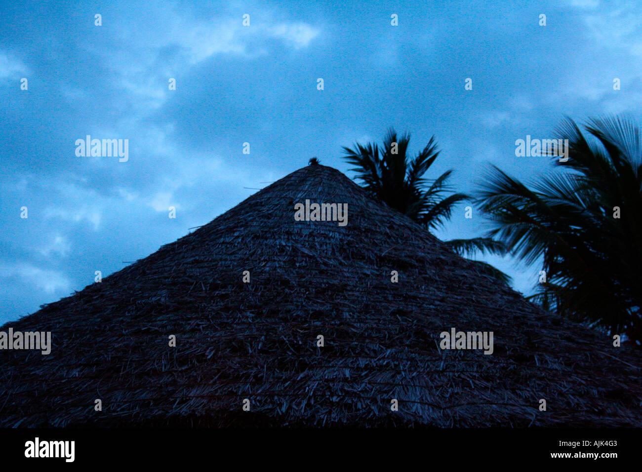 Una vista del techo de una sombrilla en la playa durante el día Imagen De Stock
