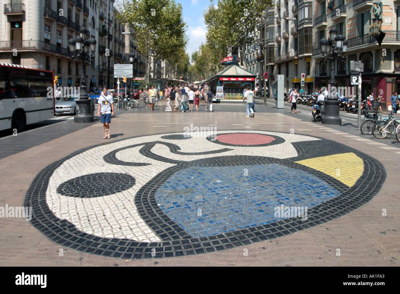 Mosaico De Joan Miro Rambla De Sant Josep Las Ramblas Barcelona
