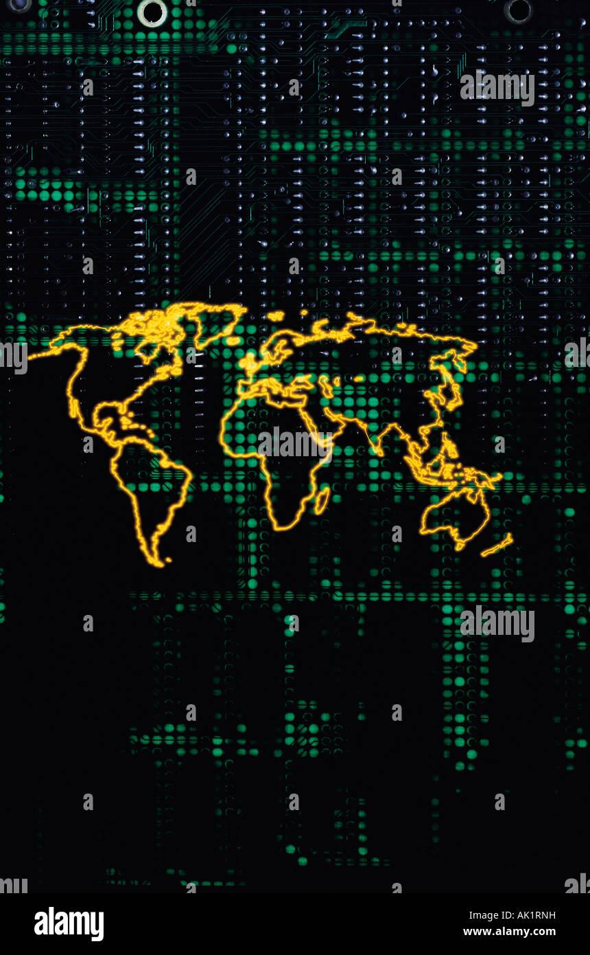 Obras de arte. Mapa de esquema mundial concepto contra la placa del circuito electrónico de fondo. Imagen De Stock