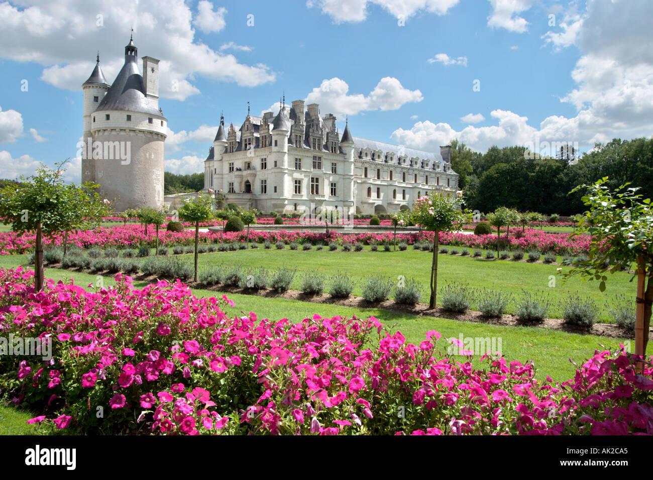 Château de Chenonceau y sus jardines, el Valle del Loira, Francia Imagen De Stock