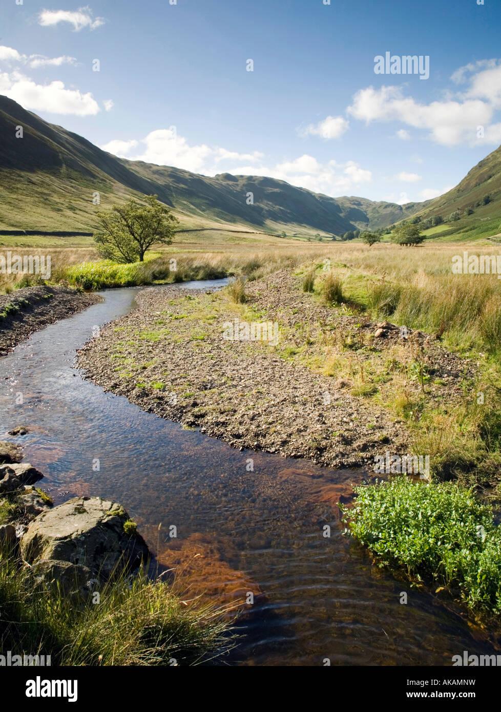 Ver abajo Boardale valle con Boredale Beck Lake District National Park Cumbria Foto de stock