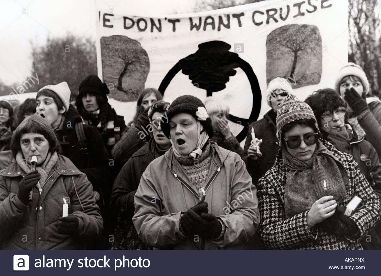 Candel vigilia en Greenham Common Womens Peace Camp 1983 Imagen De Stock