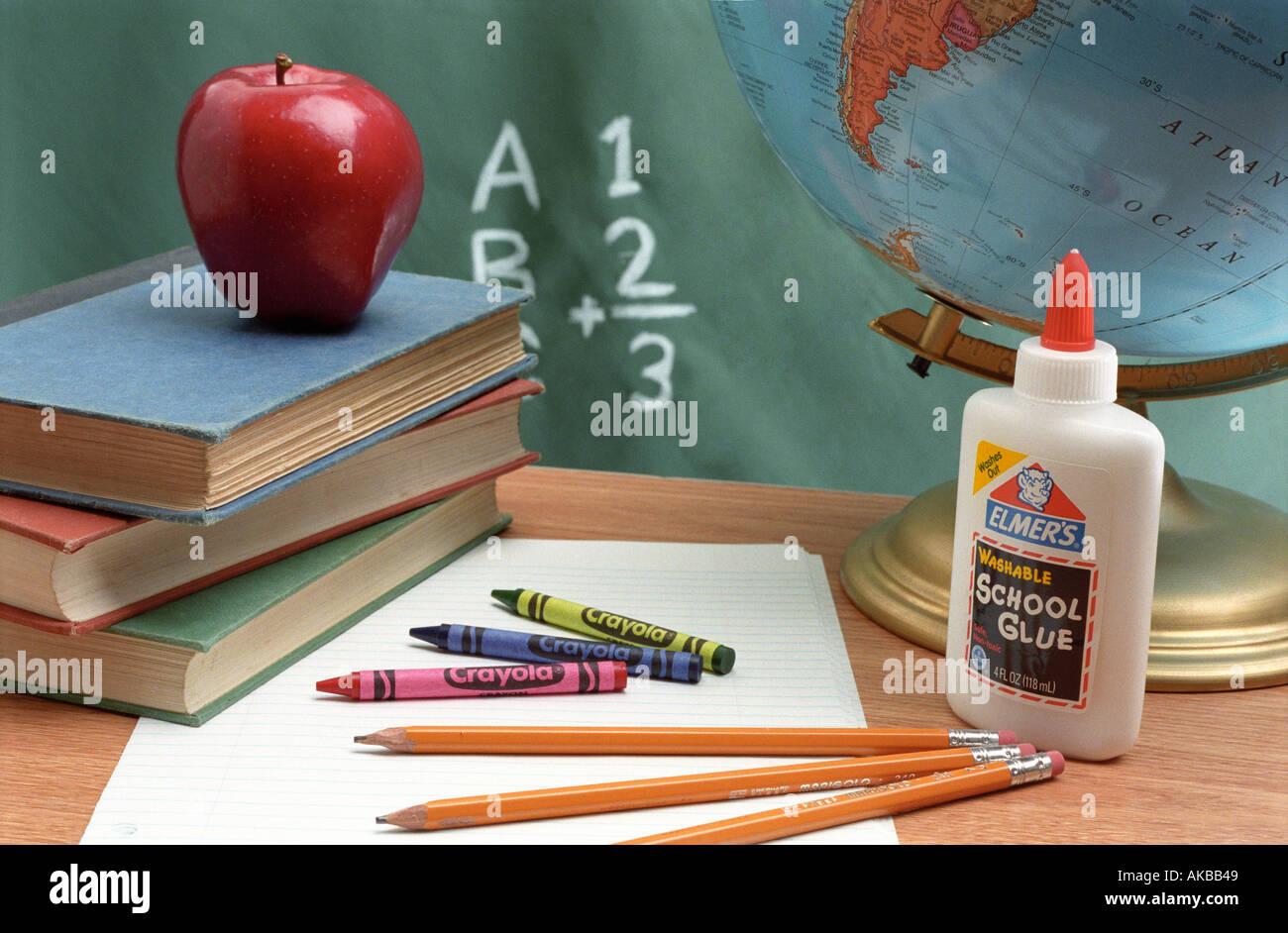 Suministros escolares bodegón Imagen De Stock