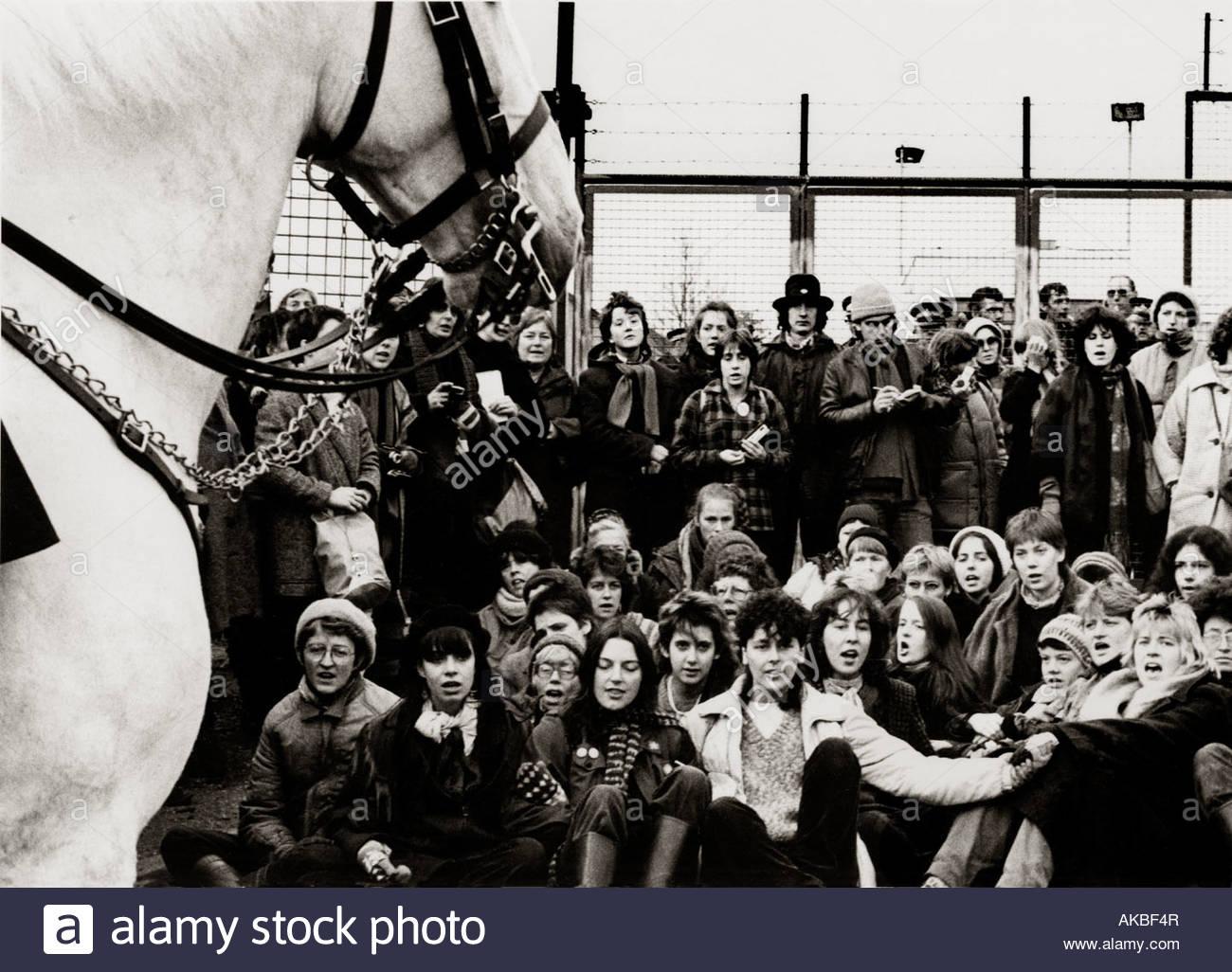 Las mujeres de Greenham Commons Mujer Peace Camp 1983 Imagen De Stock