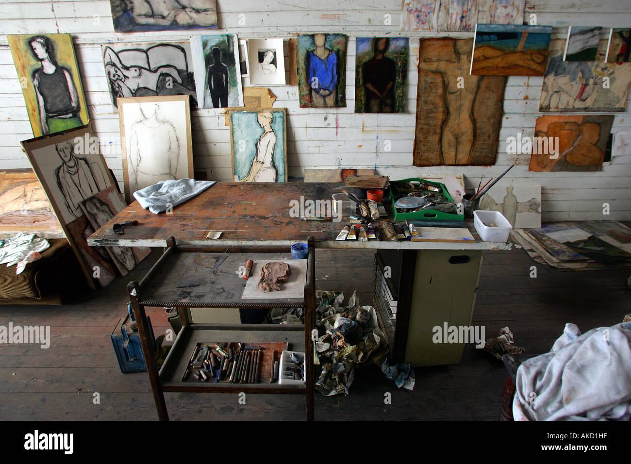 St Ives estudios de artistas en Porthmeor Beach en Cornwall, Inglaterra, Reino Unido. Imagen De Stock