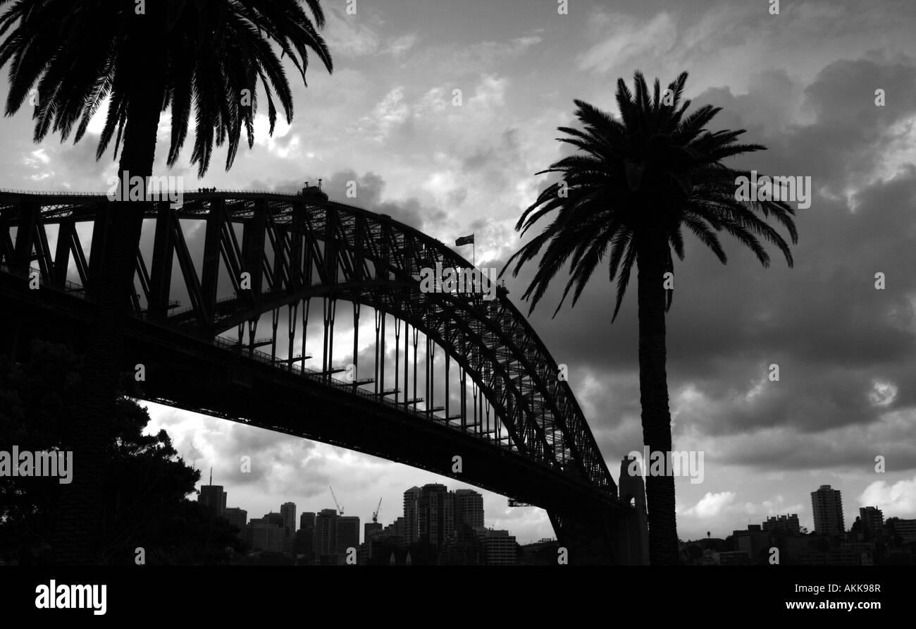 Sydney Harbour Bridge en B/W Imagen De Stock