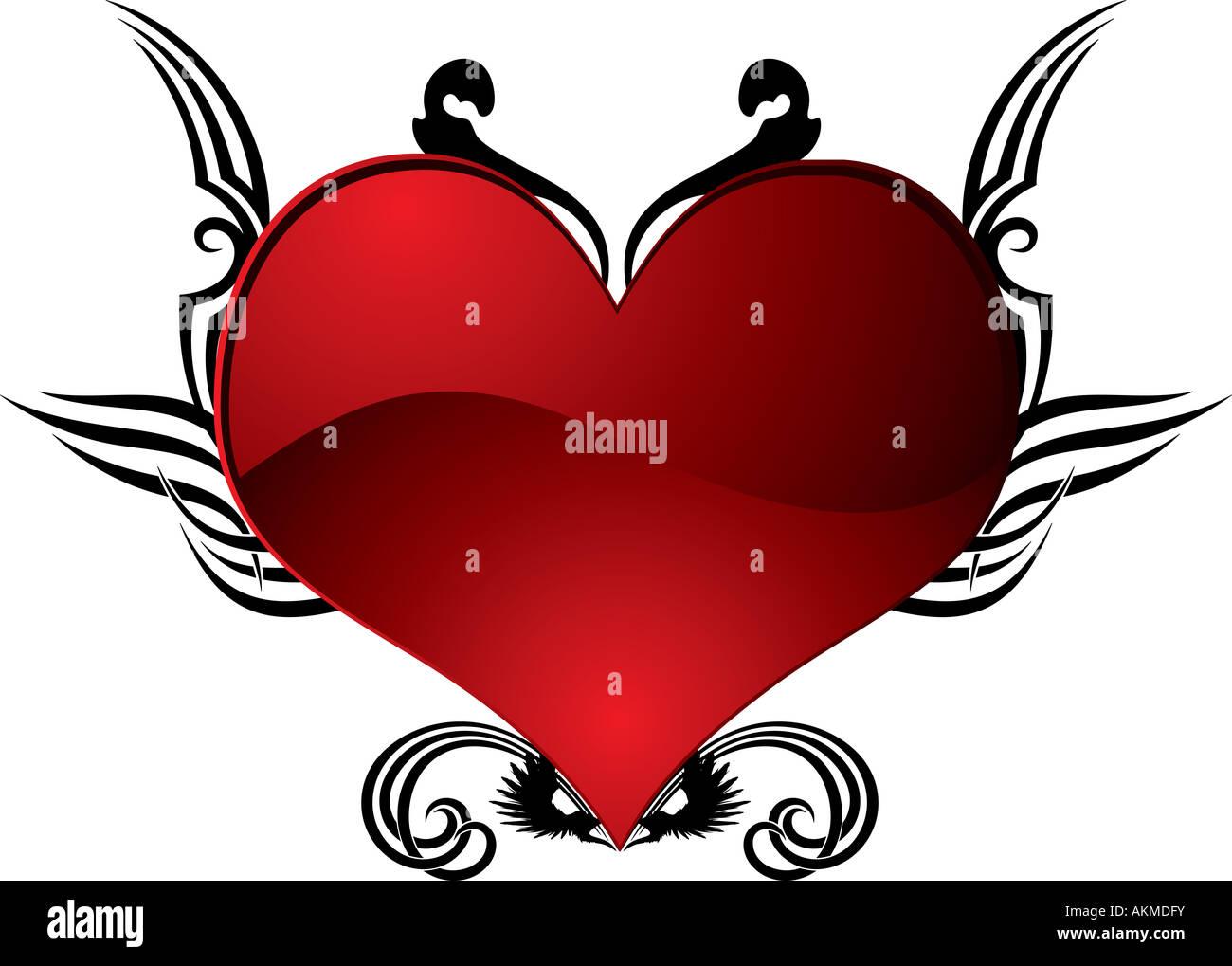 Resumen corazón tatuaje en rojo y negro, ideal para el día de San ...