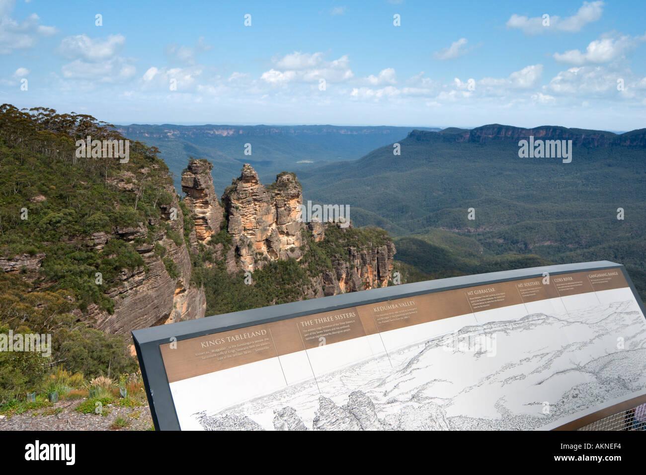 Las tres hermanas y el monte a Gibraltar de Echo Point, Blue Mountains, en New South Wales, Australia Imagen De Stock