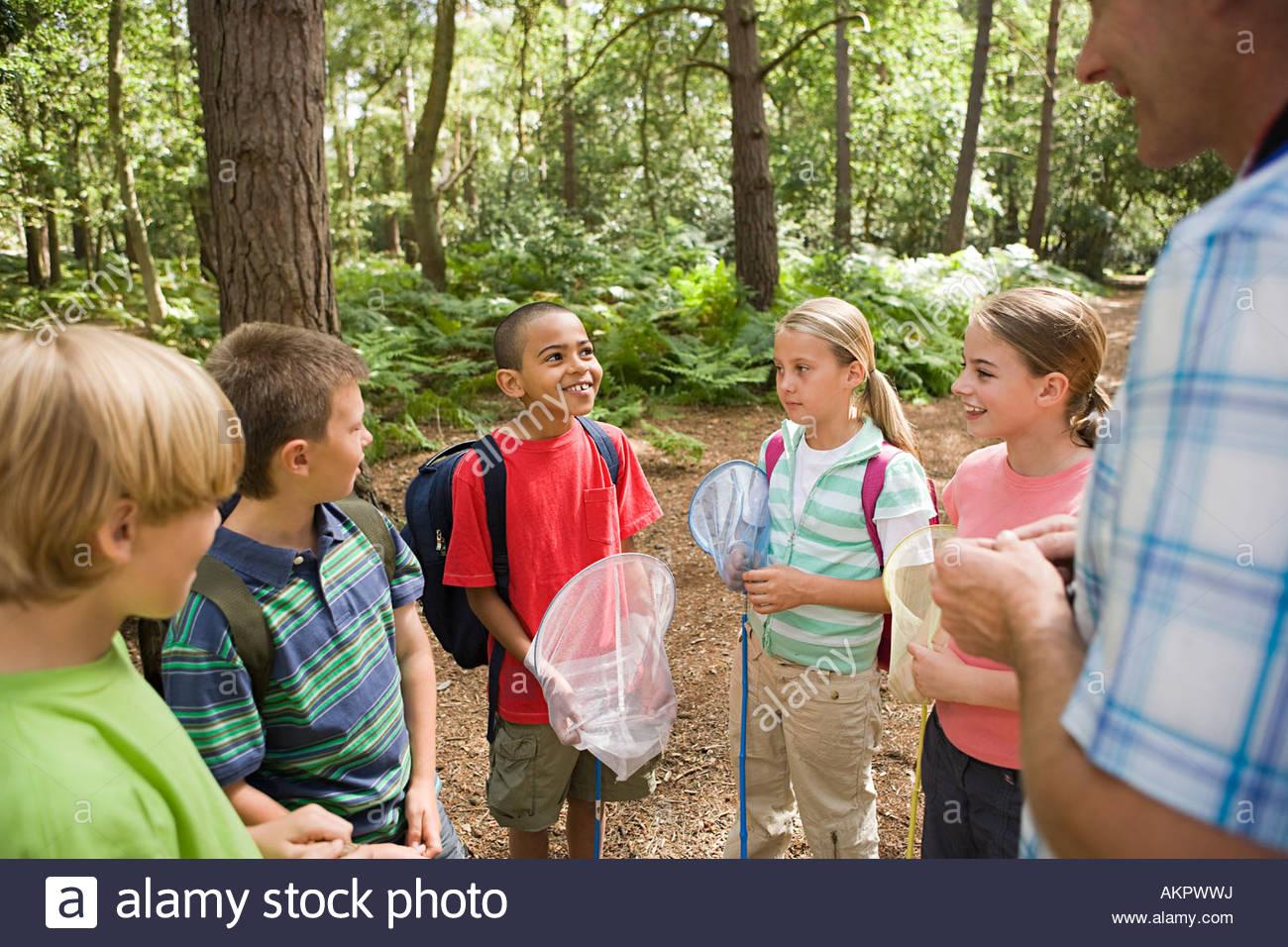 Escolares en viaje de campo Imagen De Stock