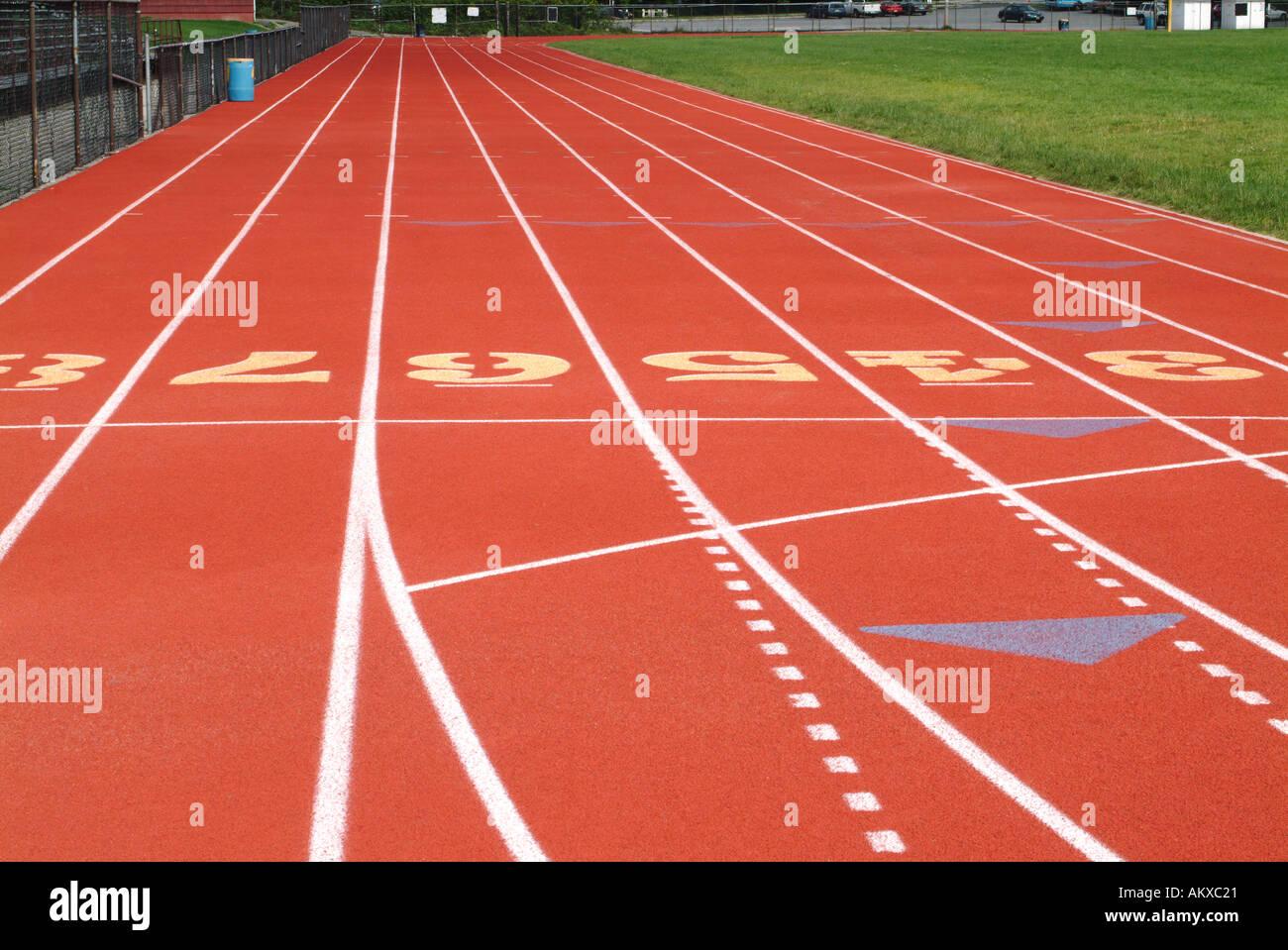 Pista de Atletismo highschool Imagen De Stock