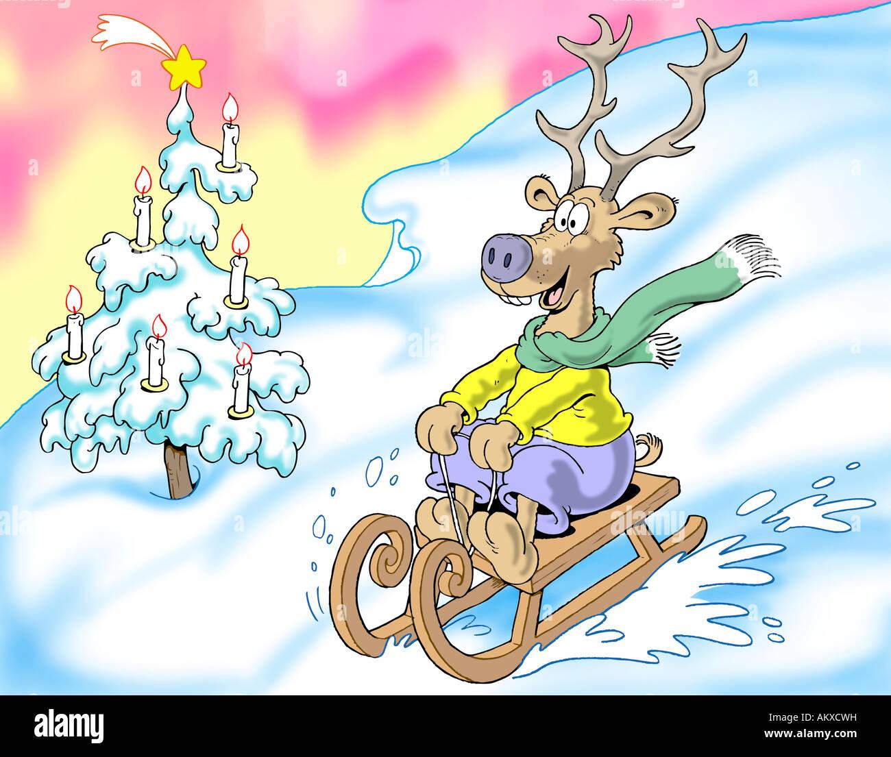 Merry en trineo de renos, ilustración Imagen De Stock