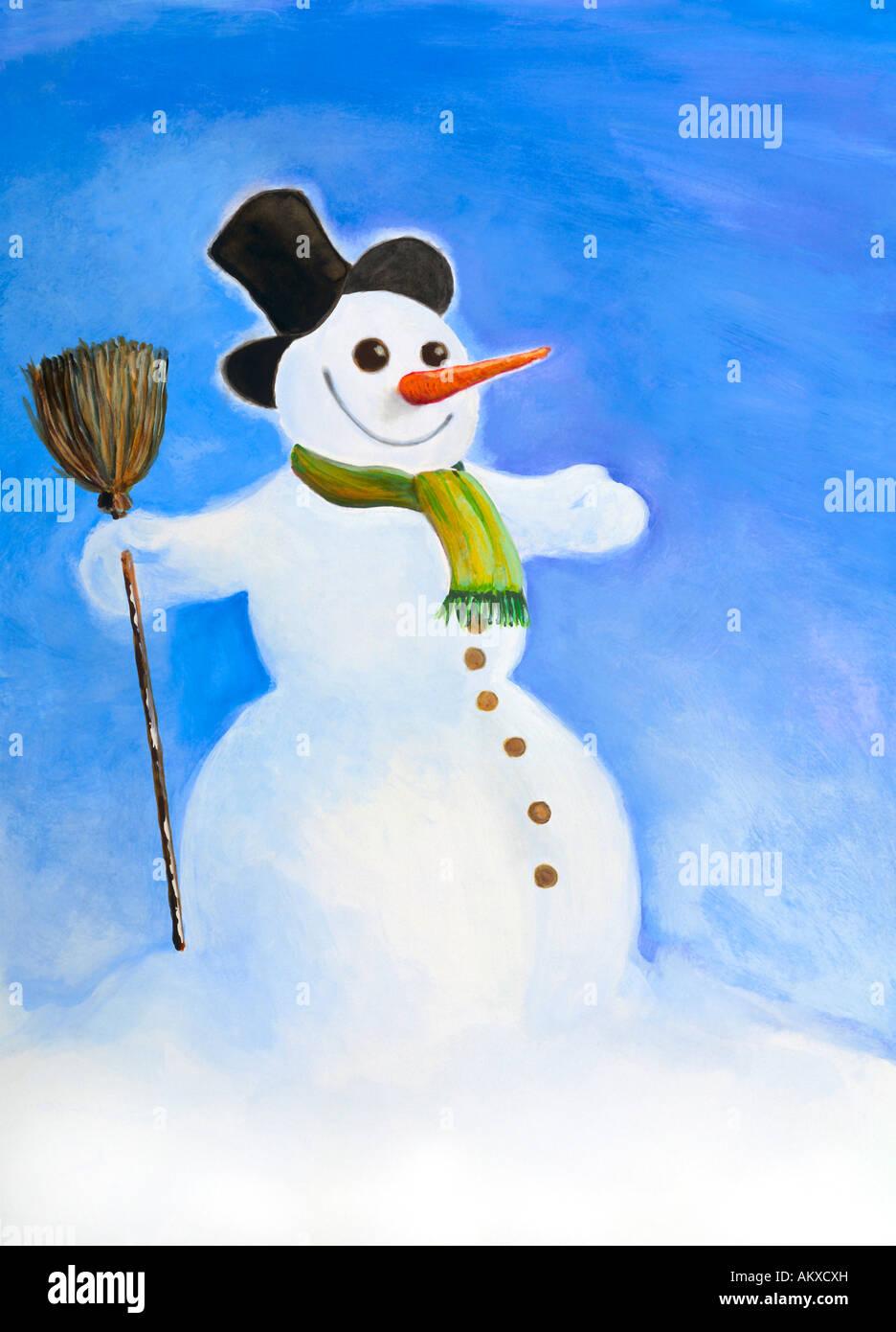 Muñeco de nieve, ilustración Imagen De Stock