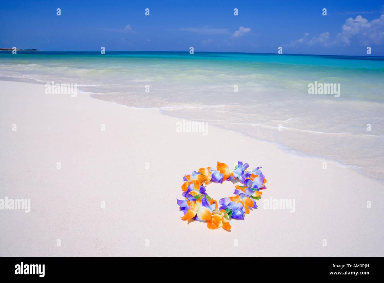 Colorido collar lei floral en la playa en Playa del Carmen, Riviera Maya, México Imagen De Stock