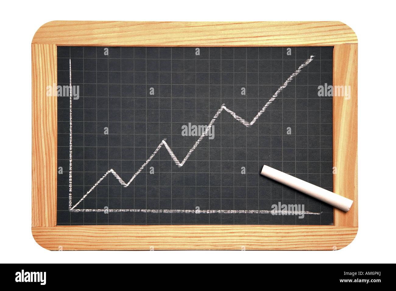 Pizarra con un gráfico, mostrando una tasa de crecimiento Imagen De Stock