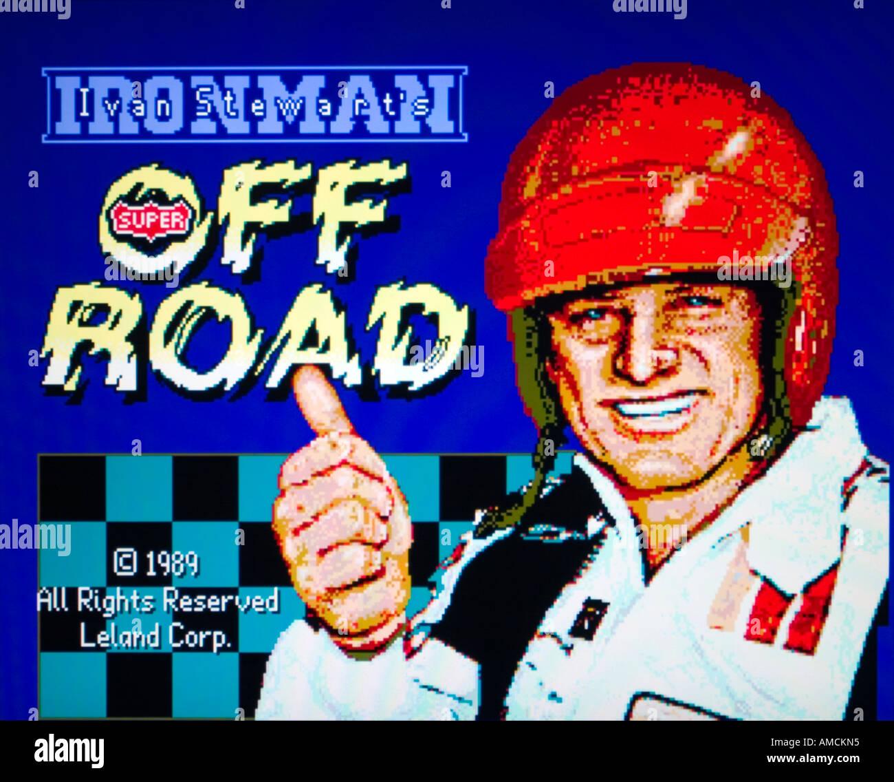 Iron Man Ironman Ivan Stewart s Off Road Leland Corp 1989 vintage videojuego arcade captura de pantalla - SÓLO PARA USO EDITORIAL Foto de stock