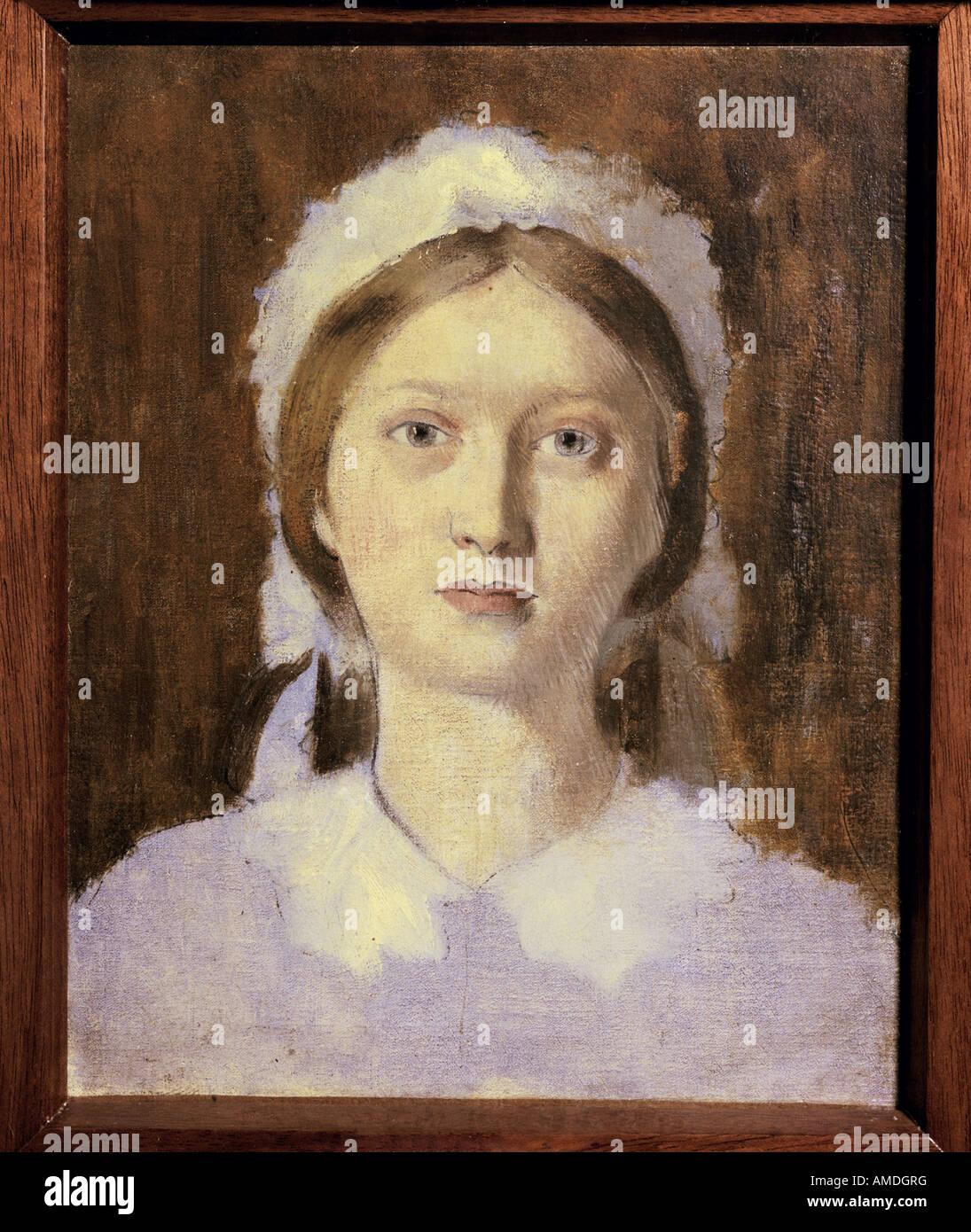 """""""Bellas Artes, Degas, Edgar (1834 - 1917), la pintura, el """"Estudio para el retrato de Marguerite de Gas"""", circa 1858, óleo sobre lienzo, Pa Foto de stock"""