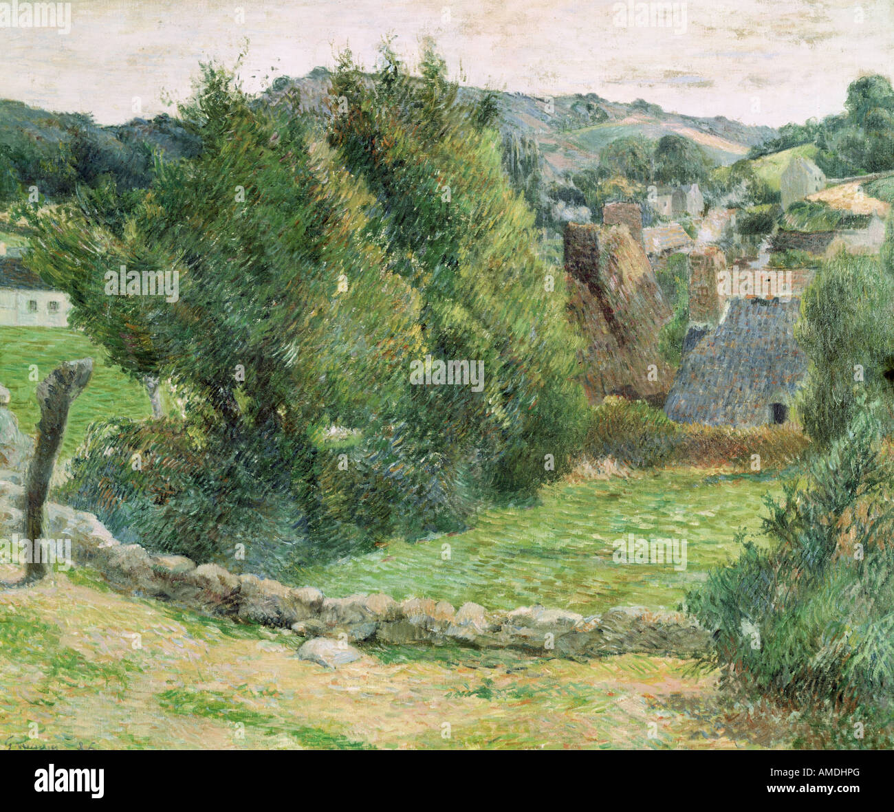 Bellas artes, Gauguin, Paul (1848 - 1903), pintura, paisaje en Pont-Aven, óleo sobre tela, colección privada, Imagen De Stock