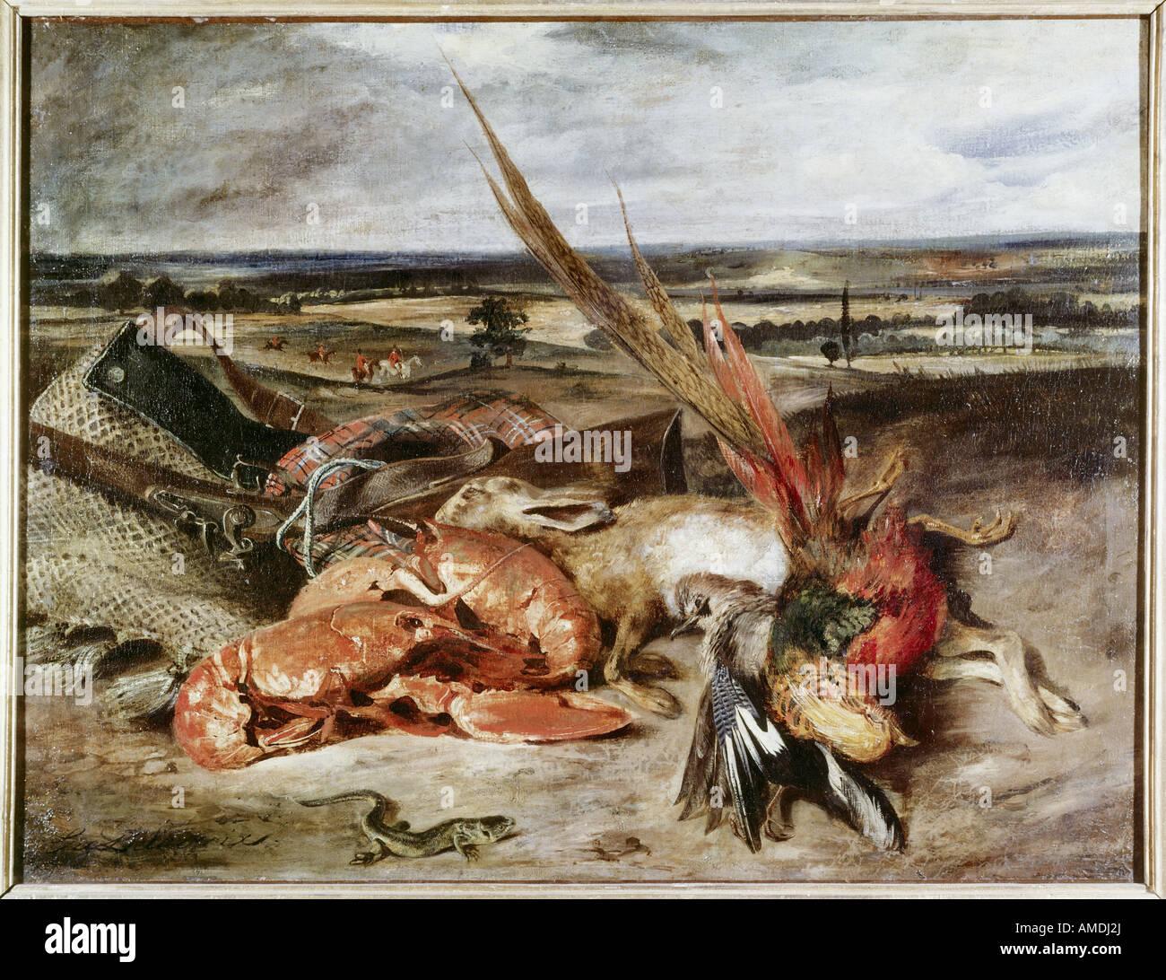 """""""Bellas Artes, Delacroix, Eugene (1798 - 1863), pintura, 'Still Life' con las langostas, 1826/1827, óleo sobre lienzo, Foto de stock"""