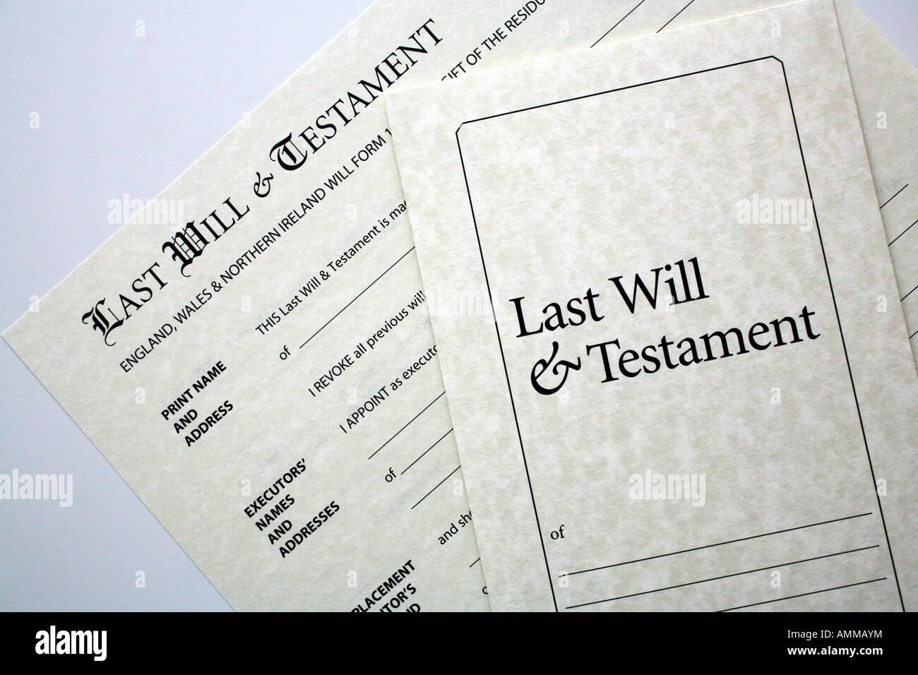 Última Voluntad y Testamento DIY pack Foto de stock