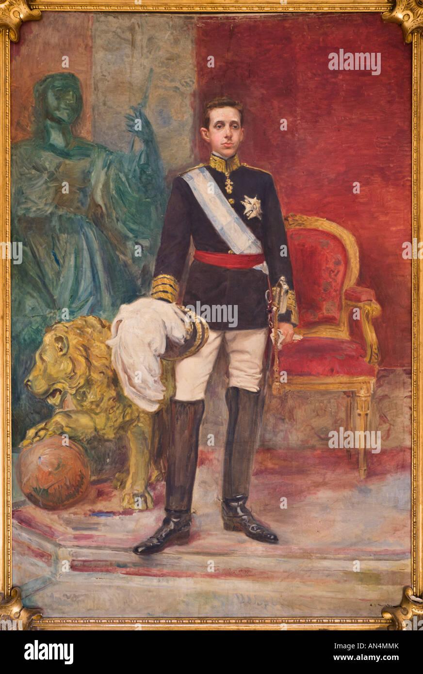 La pintura de Su Majestad el Rey Alfonso XIII por Ángel D Huertas Imagen De Stock