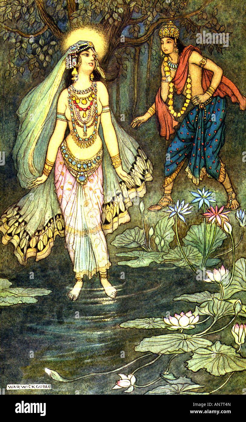 Príncipe indio Shantanu cumple con la Diosa Ganga Imagen De Stock