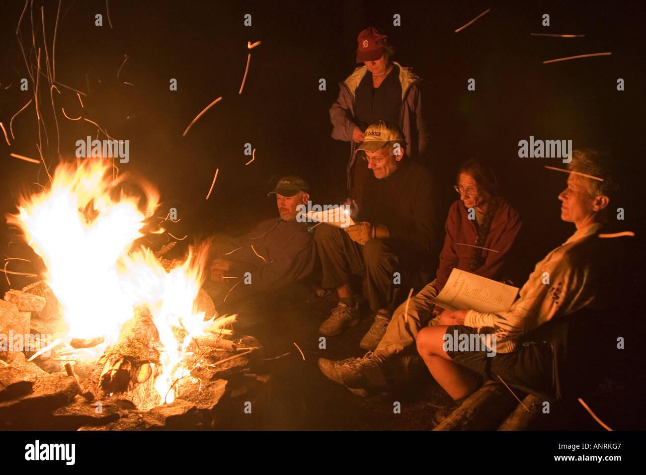 El Parque Provincial Quetico Ontario campistas sentarse alrededor de una fogata durante una canoa camping Imagen De Stock