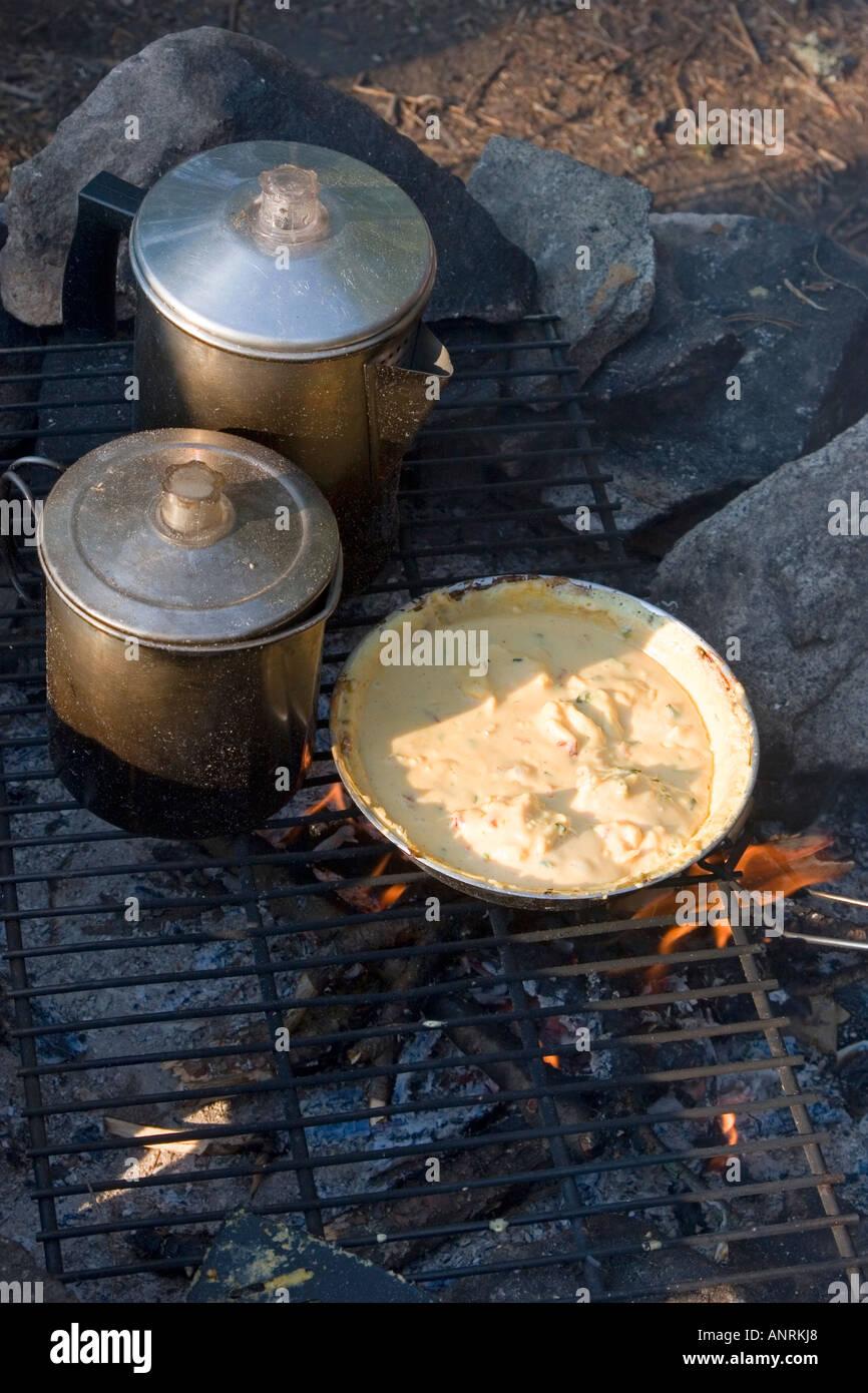 El Parque Provincial Quetico Ontario Desayuno sobre un fuego para cocinar durante una canoa camping Imagen De Stock