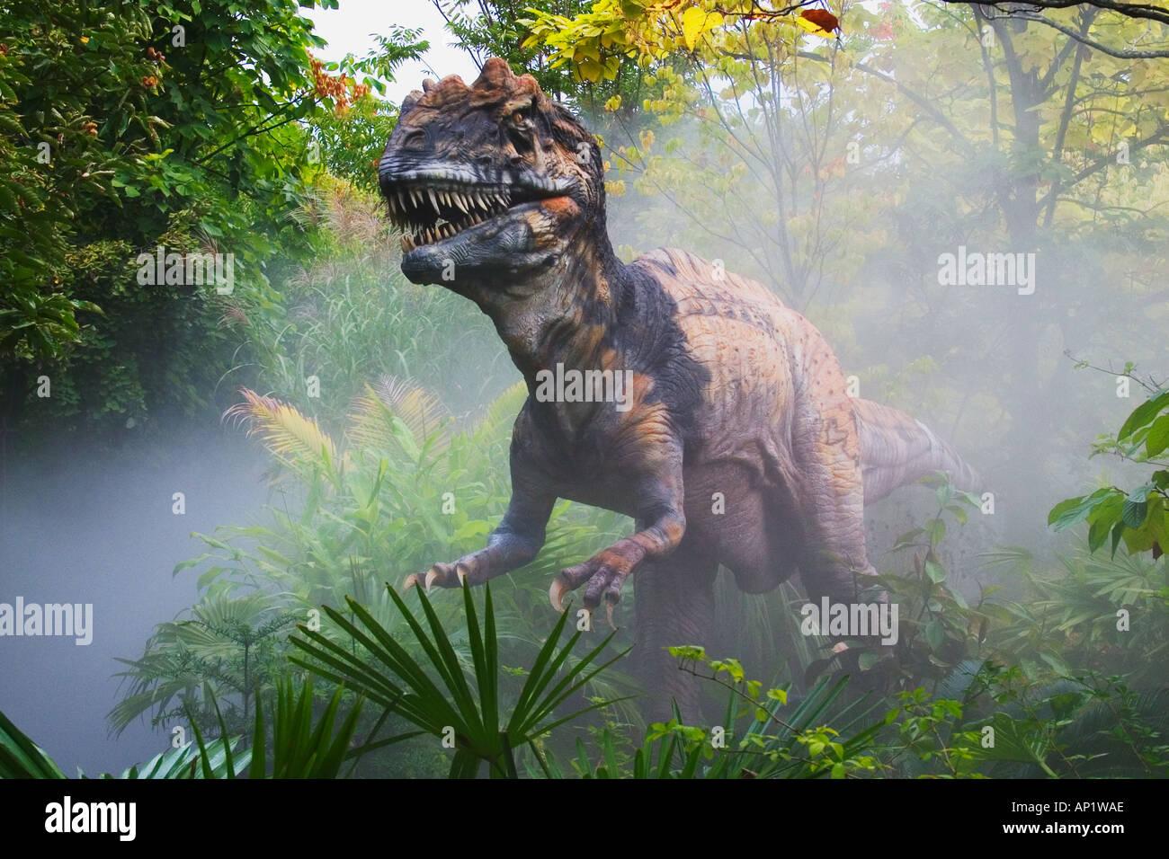 Metriacanthosaurus que significa moderadamente vinculado dinosaurio del Jurásico va a una longitud de 27 pies y nos Imagen De Stock