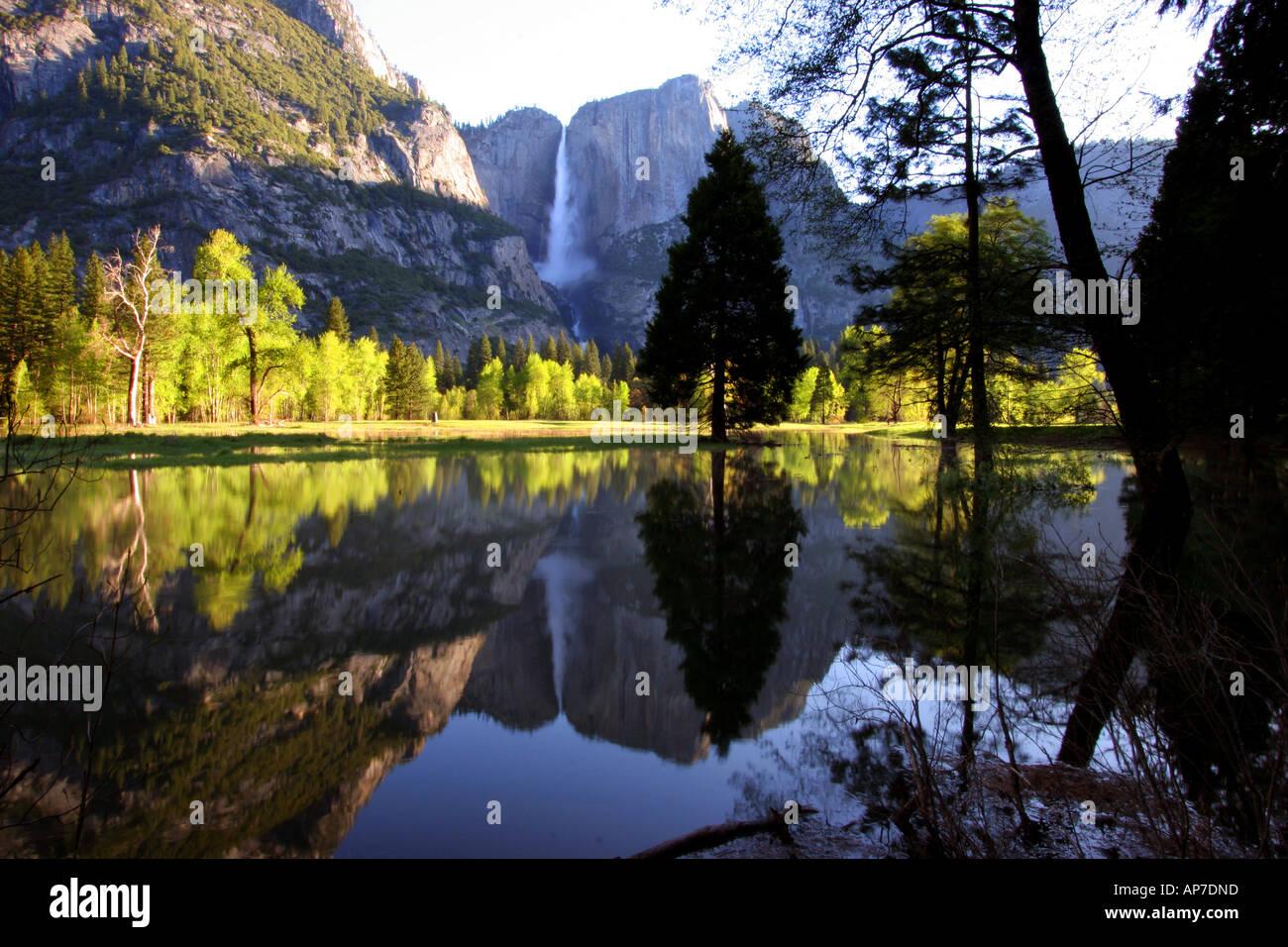 Cataratas de Yosemite reflexión, el parque nacional Yosemite Foto de stock
