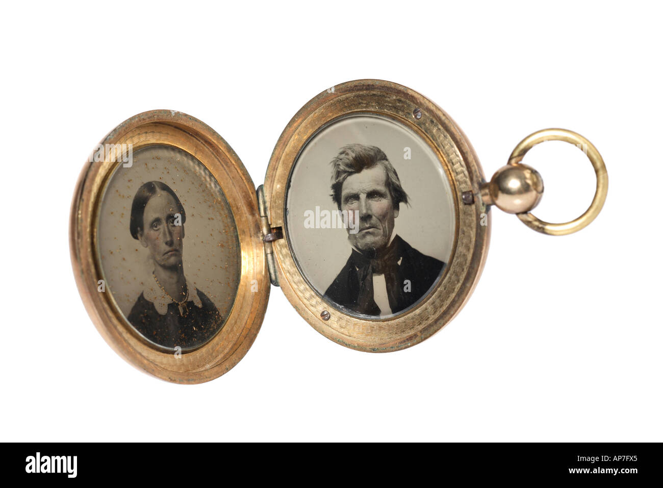 Vintage medallón con el esposo y la esposa pionero par Imagen De Stock