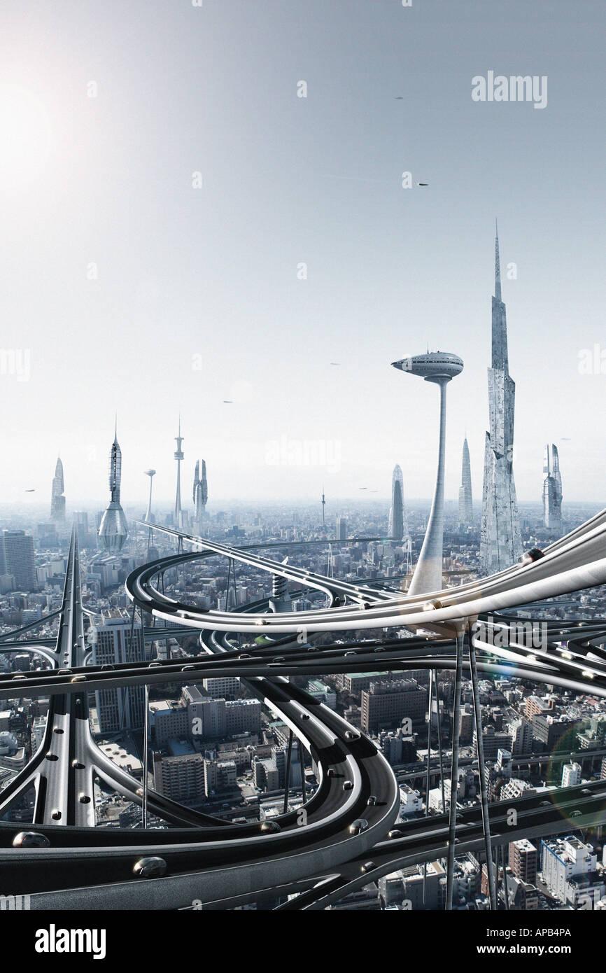 Una ciudad futurista Imagen De Stock