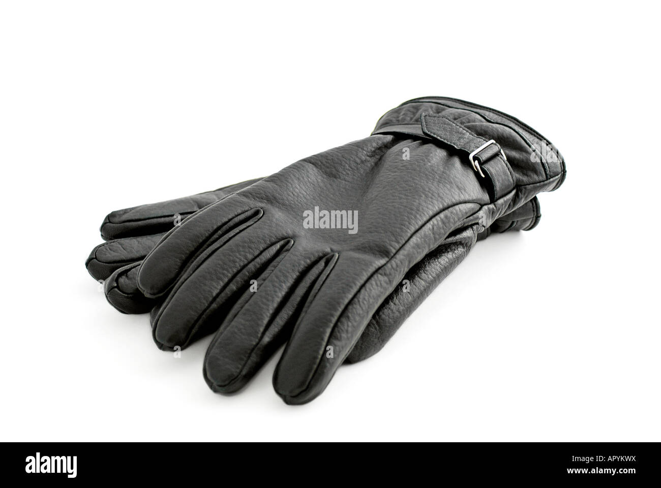 Par de guantes de cuero negro Mens Imagen De Stock