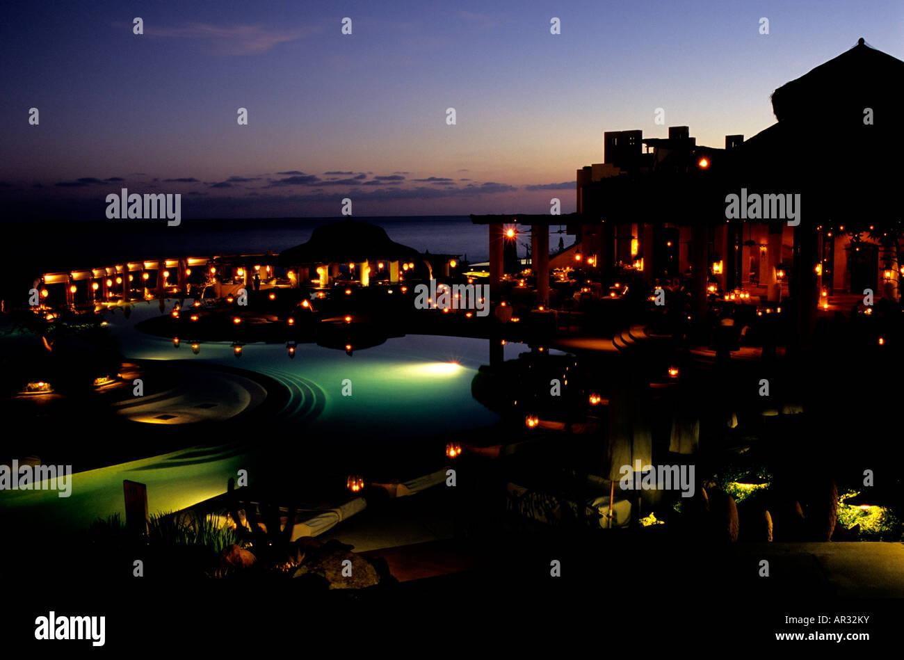 Anochecer en México exclusivas de las Ventanas al Paraiso resort de lujo Imagen De Stock