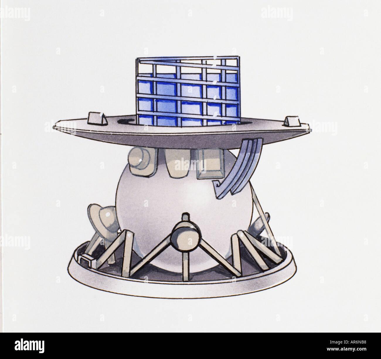 Venera 9 nave espacial utilizada para explorar Venus en 1975, paneles de vidrio en la parte superior, gran platillo-como la falda y parte inferior. Imagen De Stock