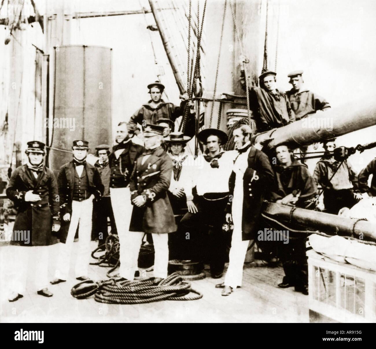 Tripulación del Agamemnon 1858 el buque que colocó el primer cable transatlántico para el telégrafo eléctrico después Foto de stock