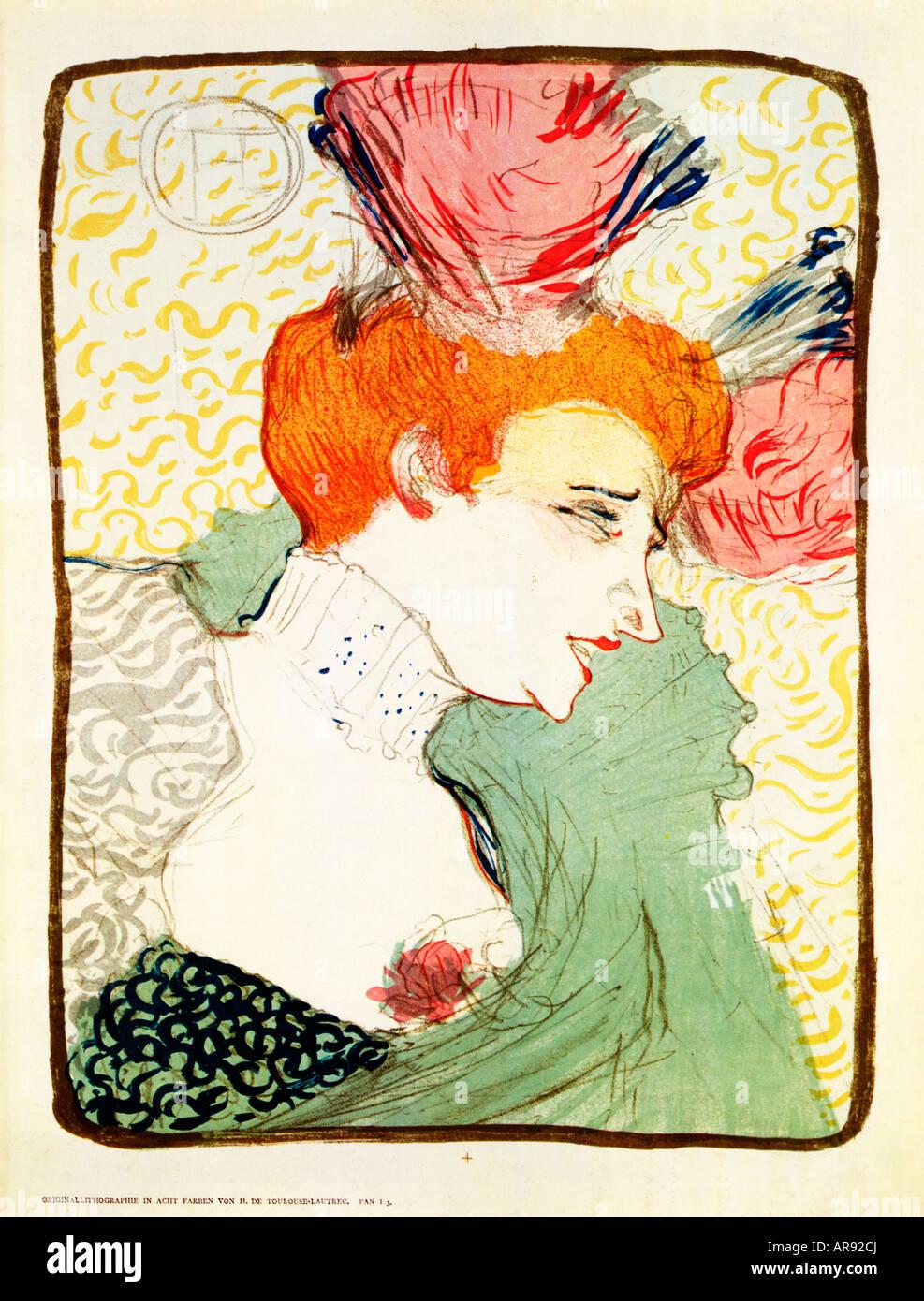 Marcelle prestamista 1895 imprimir por Toulouse Lautrec de la dama en la opereta parisina Chilperic Imagen De Stock
