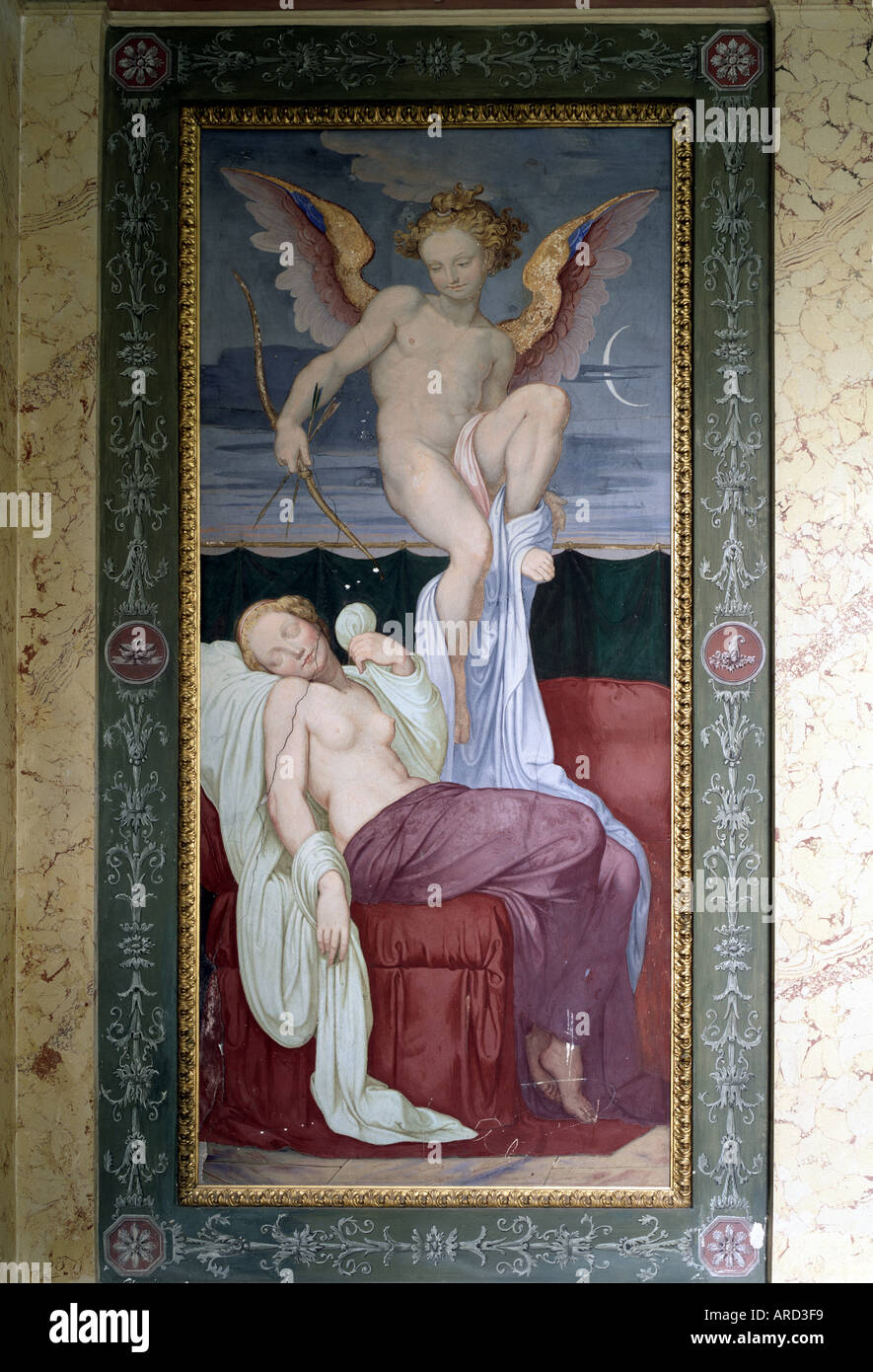 La bei Rüdigsdorf Kohren-Sahlis, Schwindpavillon, Malerei von Schwind (Amor und psique) Imagen De Stock