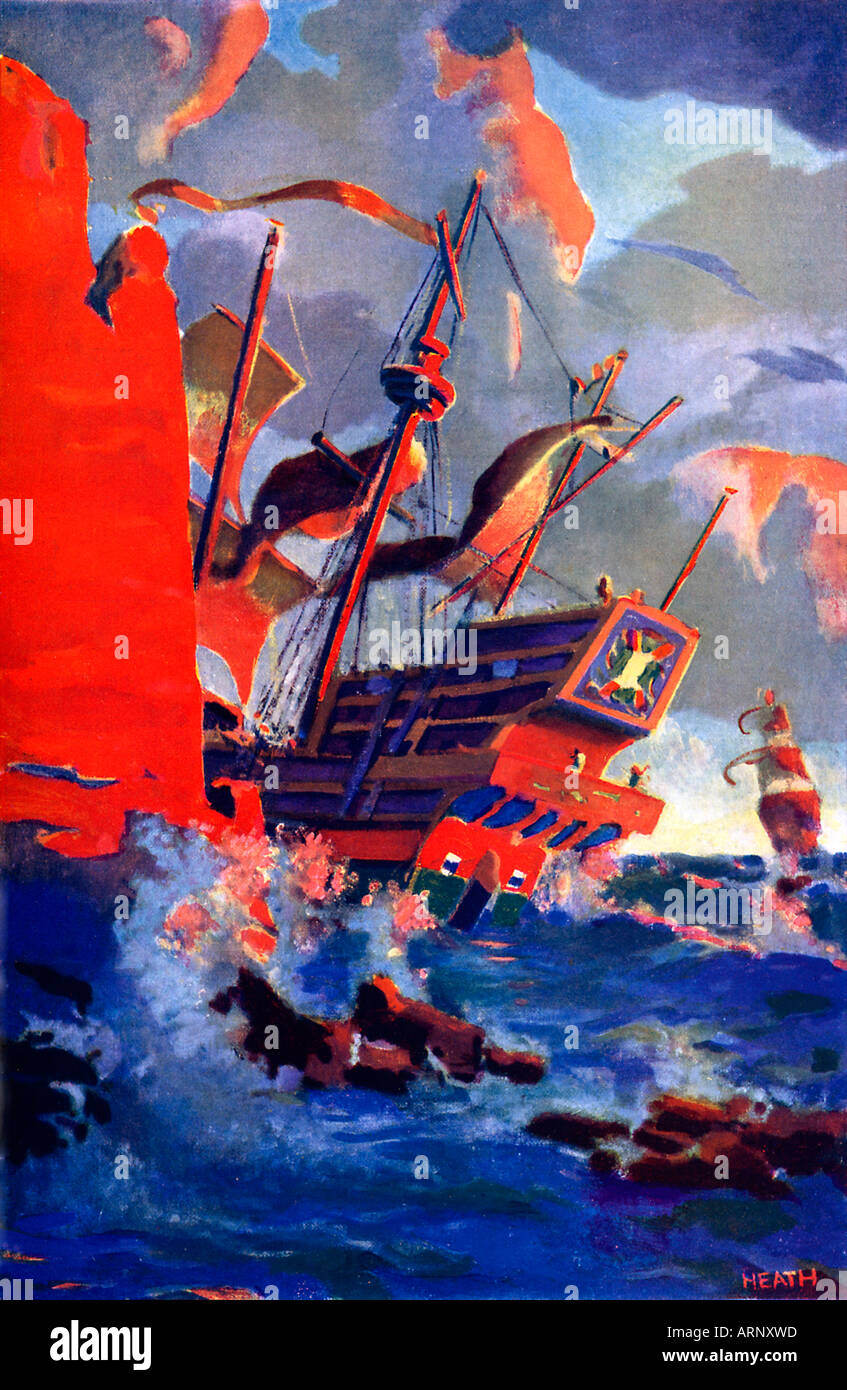 El pasado de la Armada galeones 1930 chicos cómic ilustración del final de la Armada Española en 1588 Imagen De Stock