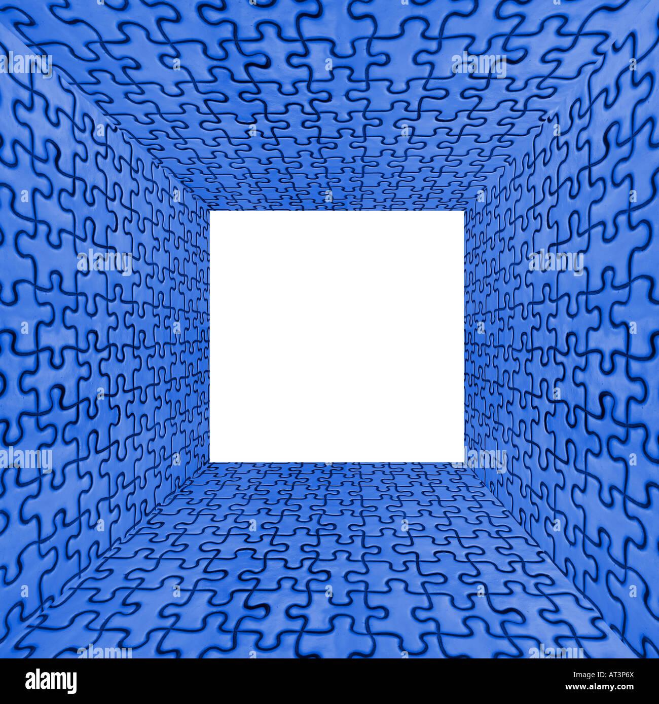 Jigsaw Puzzle cubo interior piezas abstracto concepto azul Foto de stock