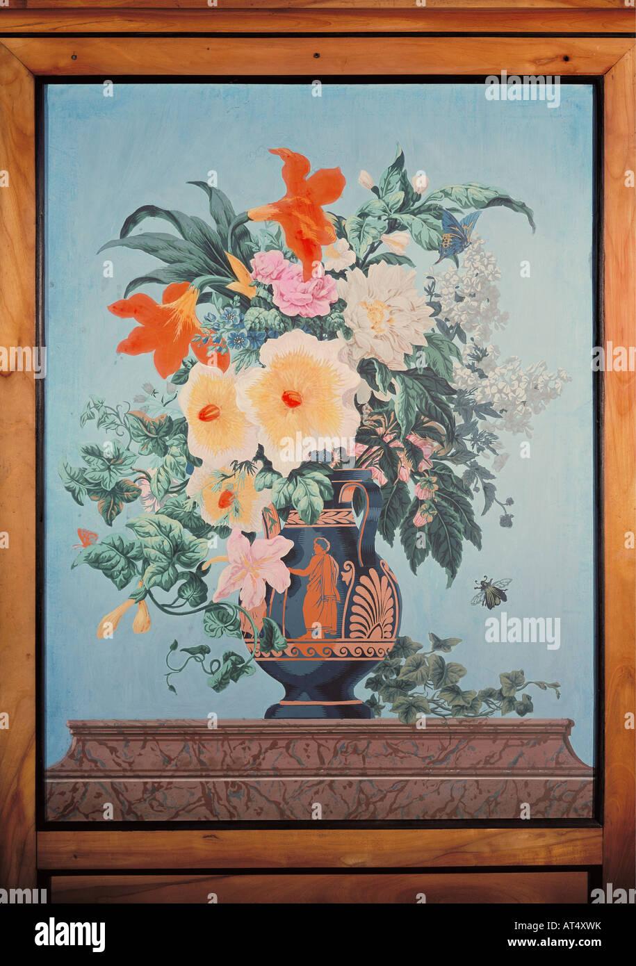 Bellas artes, pintura, still life, ogf bouquet de flores en un jarrón pintado de antigüedades, impresión Imagen De Stock