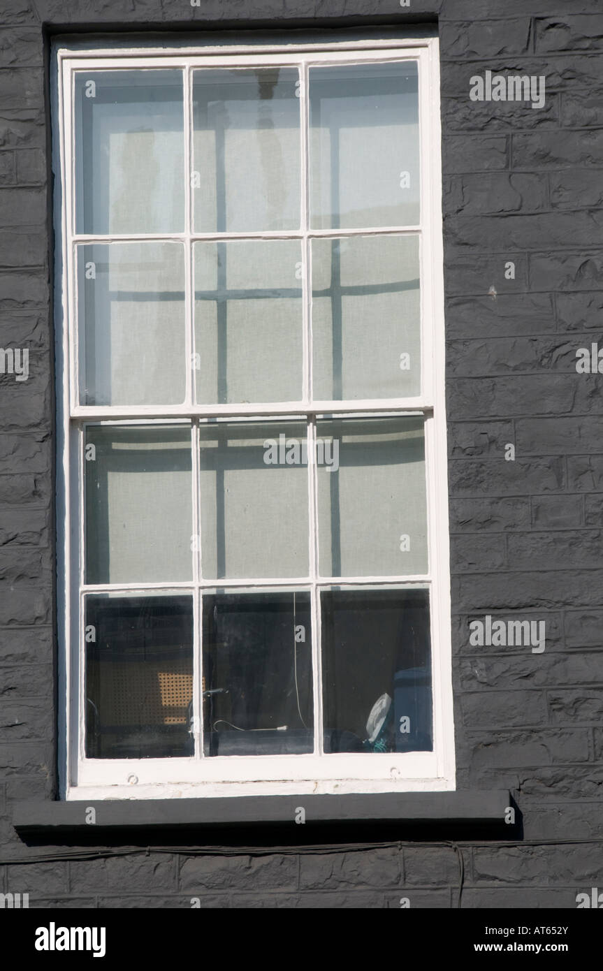 Regency 12 Panel de ventana de guillotina de madera c 1825 Gales Aberystwyth UK Imagen De Stock