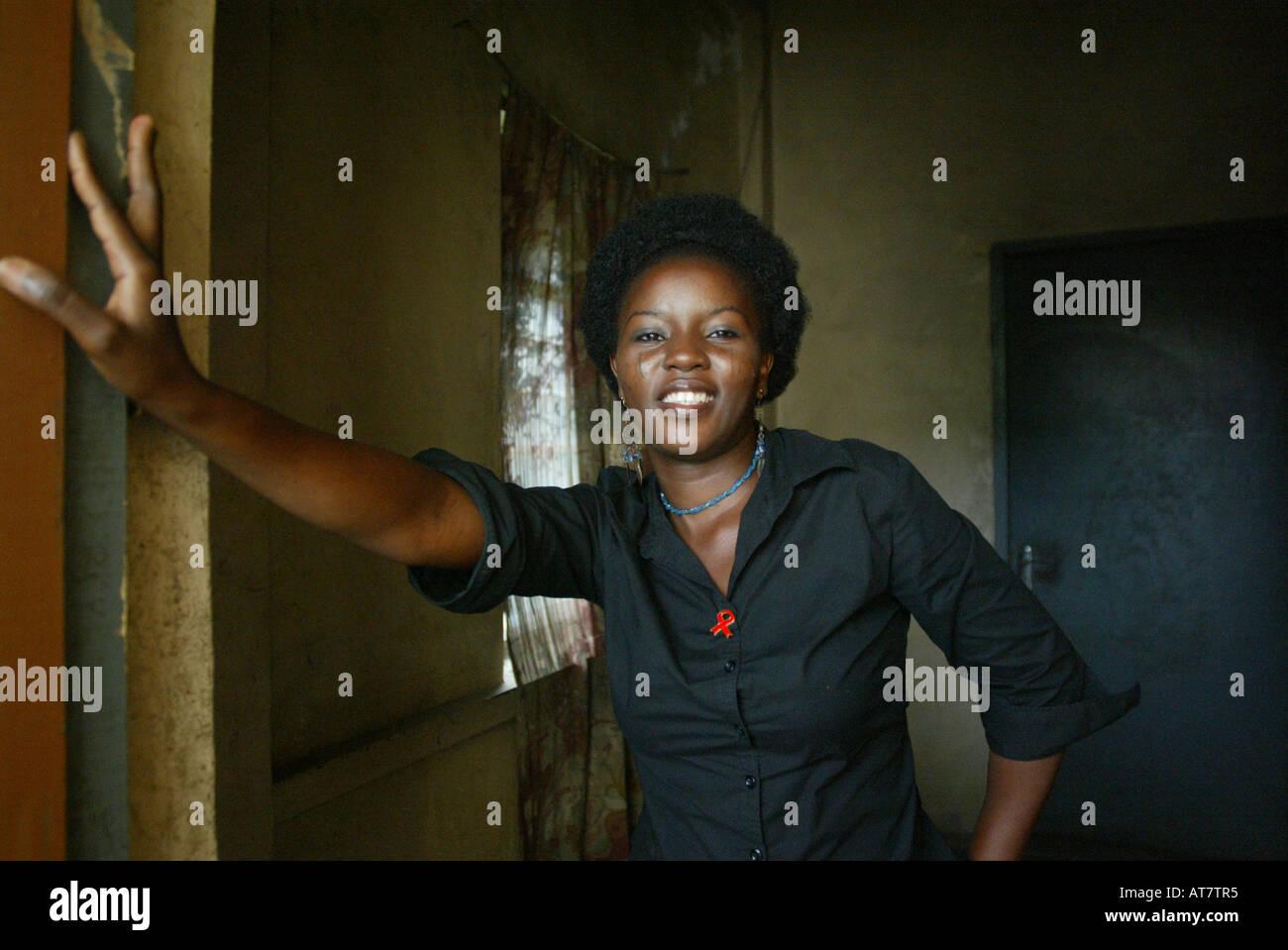 En Lagos, muchas personas están infectadas con el virus VIH/SIDA. Los activistas vienen para arriba para libre acceso a medicamentos antirretrovirales Imagen De Stock