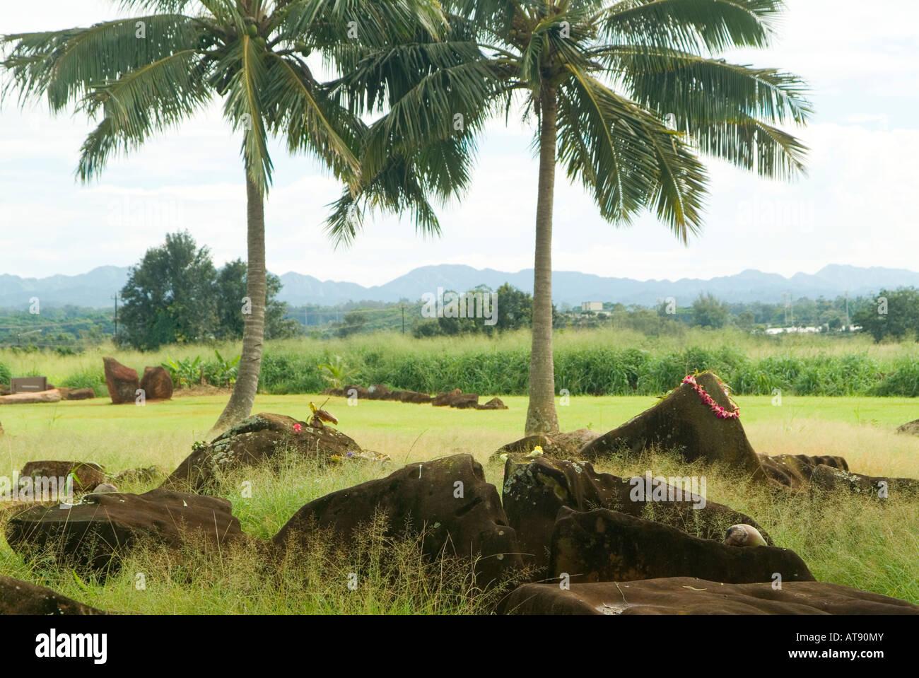 Estado Kukaniloko monumento histórico (piedras) de parto real en Wahiawa, Oahu. Foto de stock