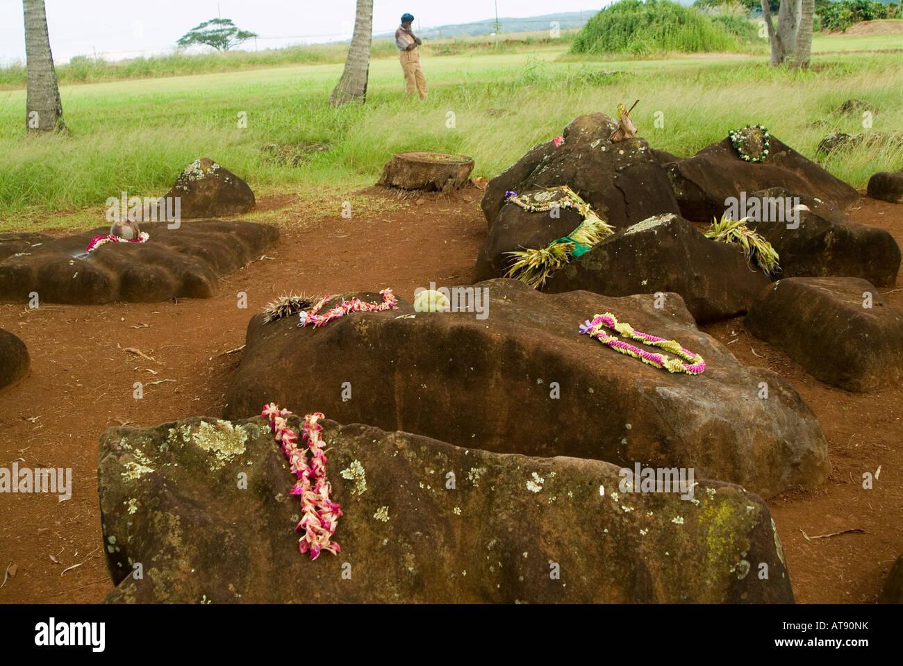 Estado Kukaniloko monumento histórico (piedras) de parto real en Wahiawa, Oahu. Close-up de piedras adornadas con lei ofrendas. Foto de stock