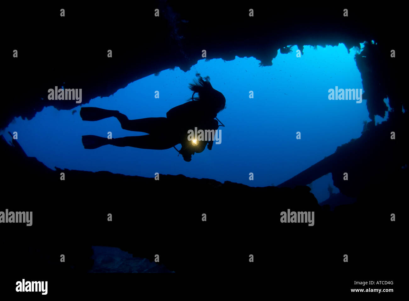 Diver y naufragio, Mar Rojo, Egipto, submarino, buceo, submarinismo, océano, mar, buceador, silueta femenina, Imagen De Stock
