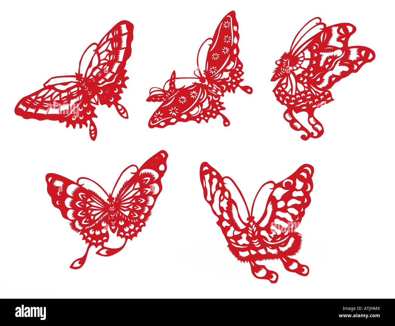 Silueta de mariposa con trazado de recorte Imagen De Stock